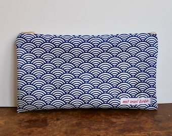 oilcloth, cosmetic bag small, make up, pencil case, zipper, waves blue, washable ***