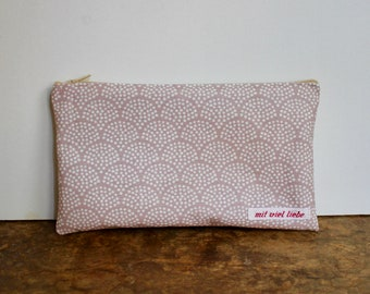 oilcloth, cosmetic bag small, make up, pencil case, zipper, waves, rose, pink, sand, washable ***