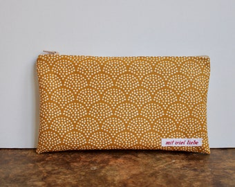 oilcloth, cosmetic bag small, make up, pencil case, zipper, sun, waves, sand, yellow, washable ***