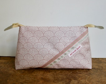 cosmetic bag , travel toiletry bag, weekend size, make up, pencil bag, waves, rose, pink, washable ***