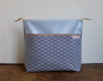 oilcloth cosmetic bag big, travel toiletry bag, make up, diaper bag, dots, blue, waves, washable ***