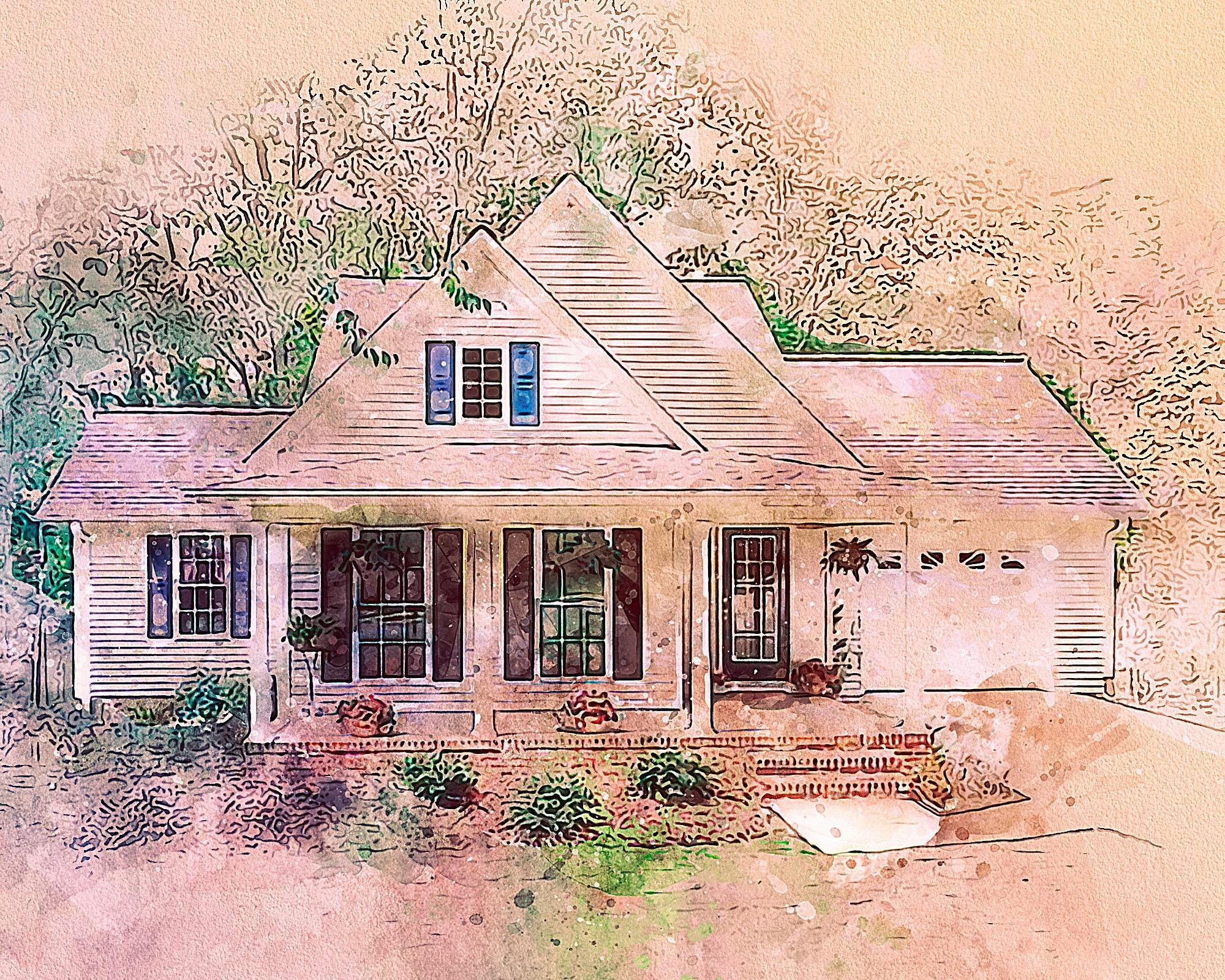 Closing gift watercolor house portrait printable realtor