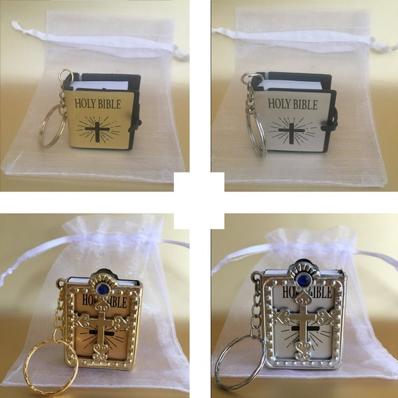 Baptism English Silver 12 x Mini Bible Keychain English Spanish Gold Silver Holy Bible Religious Favor//Baptism Favor//First Communions Wedding Shower
