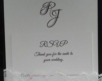 Lace Pocket Invitation with RSVP