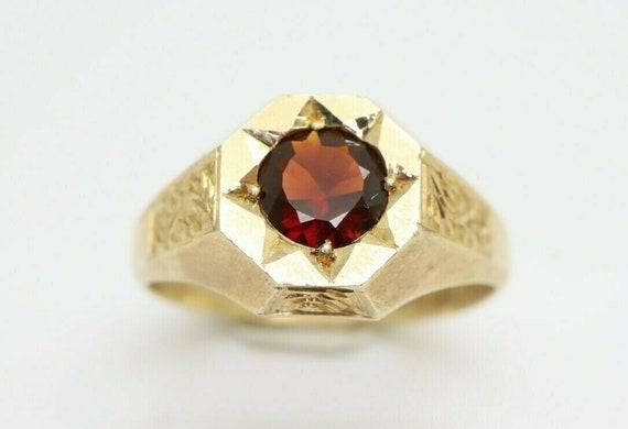 Antique 1919 9Ct Gold Garnet Hexagon Shape Signet