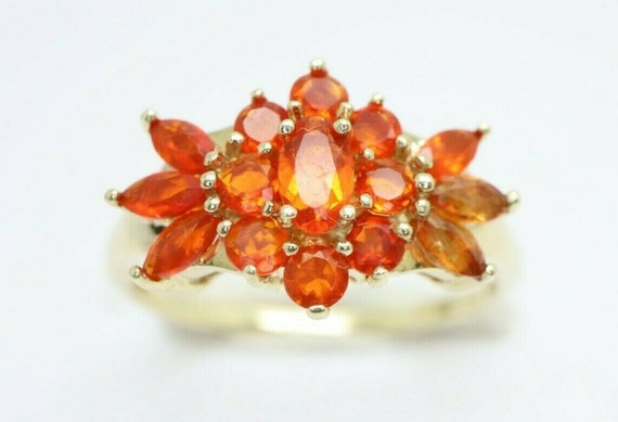 9ct Yellow Gold Mexican Fire Opal Cluster Ring, Si