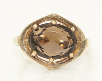 Vintage 9Ct Gold 3.8 Ct Smoky Quartz Dress Ring, Size L 1/2