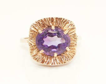 Fancy Vintage 1970 9Ct Yellow Gold 2.5 Ct Amethyst Dress Ring, Size M