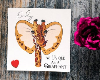 Personalised Giraphant card uniquely you birthday card anniversary valentines or just because Giraffe & Elephant -can be sent direct
