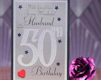 50th Birthday Card to my wonderful Husband heartfelt sentiment 50 husband birthday card luxury A5 card