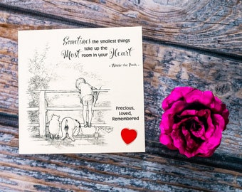 Winnie the Pooh Baby Sympathy Card Loss of Baby Miscarriage Stillborn Bereavement angel baby can be personalised / signed and sent direct