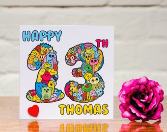 Personalised Doodle monster Happy Age birthday card fun colourful cartoon - Any Age - can be signed & sent direct