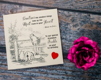 Personalised heartfelt birthday card Winnie the Pooh and Eeyore option - name, age and date - 1st 2nd 3rd 4th 5th 6th 18th 21st 30th any age