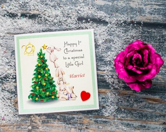 Personalised Baby's first 1st Christmas card Cute heartfelt rabbits Christmas tree luxury keepsake card  - can be adapted for older child