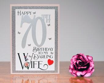 70th Birthday Card romantic to my darling Wife heartfelt sentiment 70 wife birthday card luxury A5 card