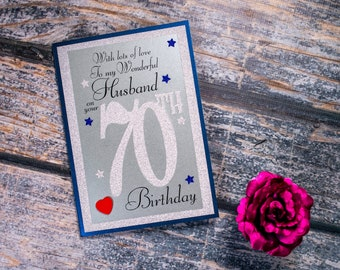 70th Birthday Card to my wonderful Husband heartfelt sentiment 70 husband birthday card luxury A5 card