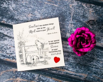 Personalised Christening Card  Winnie the Pooh & Eeyore options Baptism card  Holy Communion Card Naming Day card little girl or little boy