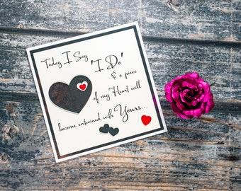 """Luxury wedding card heartfelt piece of my heart puzzle 'to my groom' ' to my bride' for husband or wife - Large 8"""" statement card"""