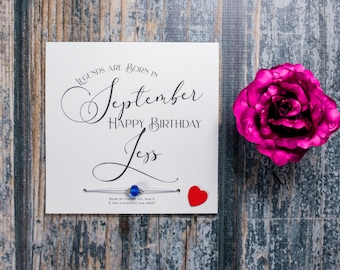 Personalised birthday card Legends are Born in birth month - Birthstone wish bracelet gift - crystals bracelet on gold or silver nylon cord