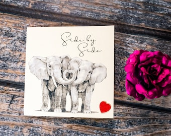 Romantic heartfelt Side by Side Elephants card heart trunks suitable for  Anniversary Birthday Wedding Valentines or just because I Love you