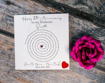 Elegant personalised Song Lyrics card - Anniversary card Wedding card Birthday card or Just because