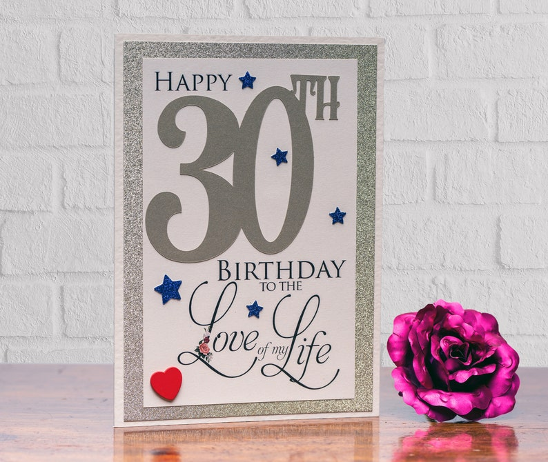 gold 30 card Romantic deluxe to the Love of my Life 30th Birthday Card romantic with heartfelt sentiment