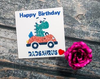Cute relation personalised birthday card dinosaur - Dad Mum Grandad Son Uncle Brother