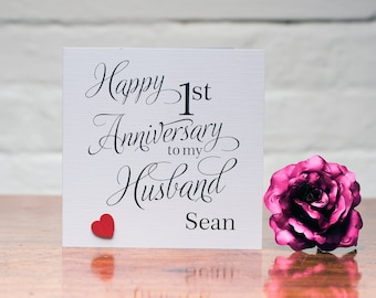 Romantic elegant personalised Happy 1st first anniversary as my Husband card - paper anniversary - First Wedding Anniversary Card