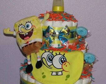 Spongebob Diaper Cake, Spongebob Squarepants Baby Shower, Diaper Cakes for Boys, Baby Shower Centerpiece, Diaper Cake, Spongebob Baby Gifts