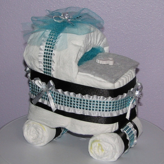 Diaper Carriage Diaper Baby Carriage Baby Shower Etsy