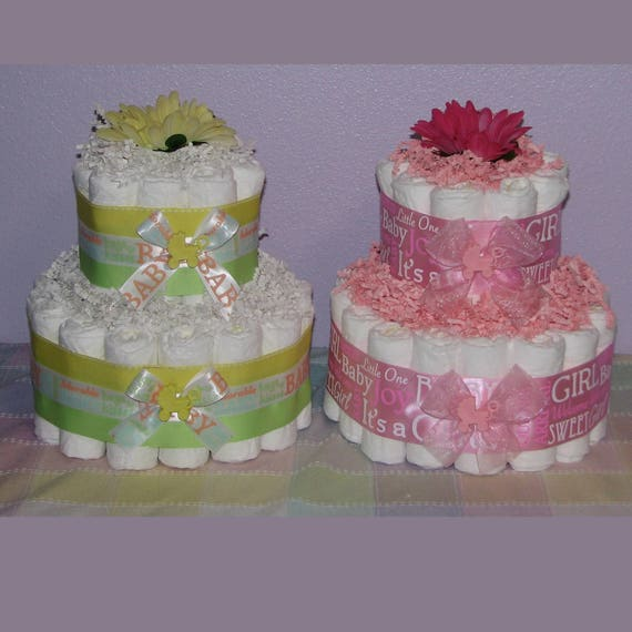 Diaper Cake Centerpieces For Baby Shower Decorations Small Etsy
