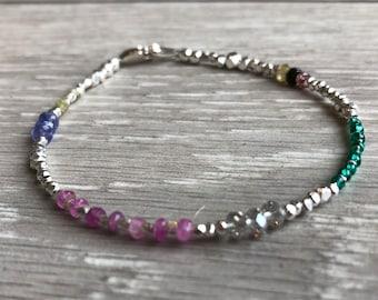 Trinket  gemstone and karen hill tribe silver bracelet