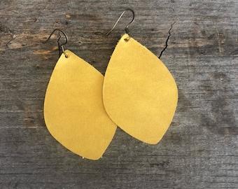 Mustard Yellow Leather earrings