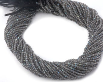 Free Shipping Labradorite Faceted Rondelle Beads | 2.25 mm Micro Beads| Dark Shade Labradorite Beads | Jewellery Making