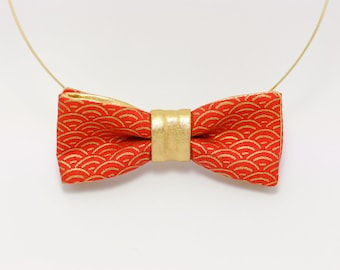 Red bow tie necklace for women: Naiad coral