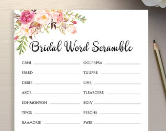 Bridal Shower Word Scramble Game Template Floral Printable Instant Download PDF JPEG