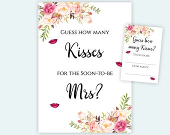 image regarding How Many Kisses for the Soon to Be Mrs Free Printable called How numerous kisses Etsy