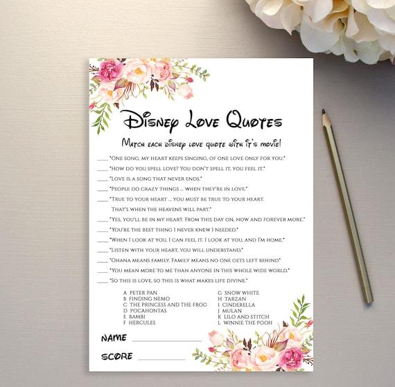 Disney Love Quote Game Printable Disney Quotes Bridal Shower Etsy