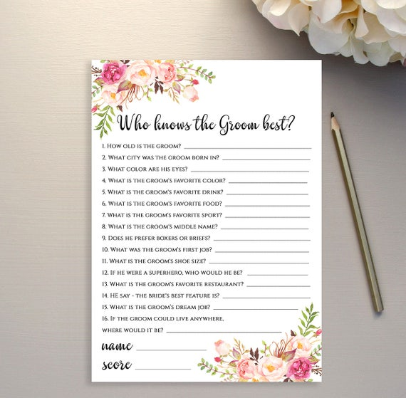 Who Knows The Groom Best Game Template Floral Bridal