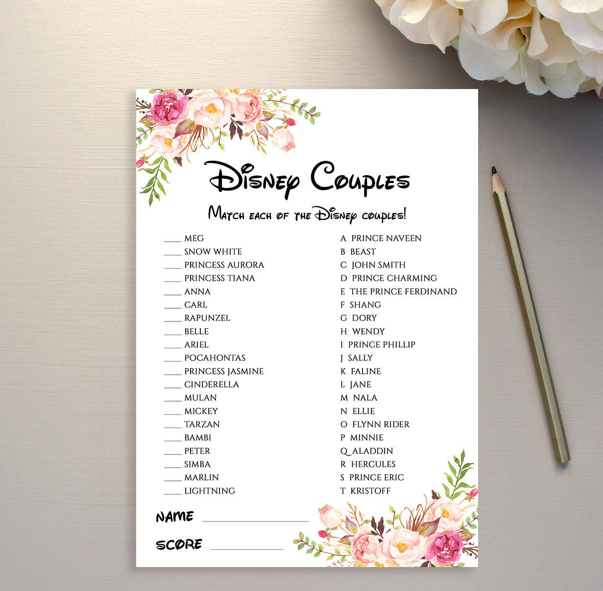 Disney Couple game printable Matching Disney Couples Bridal | Etsy