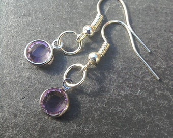 3b2b0c8d5 Crystal earrings/ Swarovski earrings handmade /lilac earrings / dainty  earrings / small earrings / minimalist earrings / purple earrings