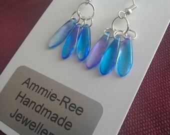 Rainbow dagger earrings /Blue earrings / cluster earrings / blue earrings / cluster earrings /silver earrings / crystal earrings/Czech glass