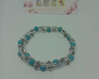 Turquoise bracelet /bangle /stone bangle / turquoise wrap bangle /star bangle/ memory wire bangle / stone cuff /coil bangle /wire bracelet