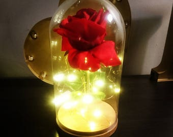 Beauty and the Beast Rose with lights