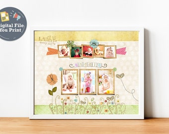 Birthday Photo Collage Printable Art Baby Display For The Nursery Newborn Personalized First Gift Ideas