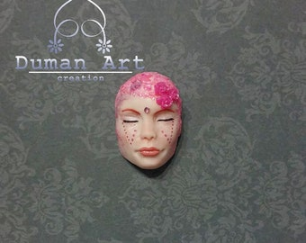Ooak CABOCHON FACE Art doll sculpture Fantasy Polymery