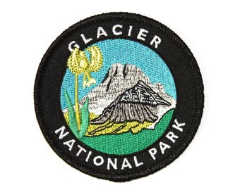 Official Glacier National Park Souvenir Patch Montana Glacier Lily Iron-on FREE SHIPPING Scrapbooking - Stocking Stuffer
