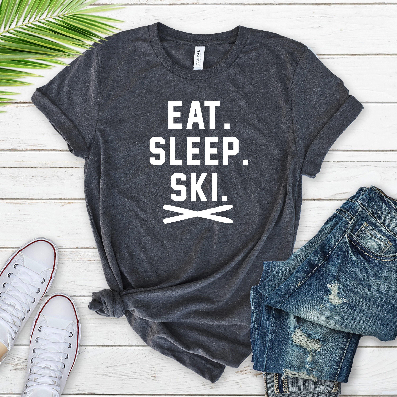 Funny T-shirt EAT SLEEP SKI REPEAT skiing cool novelty tee shirt