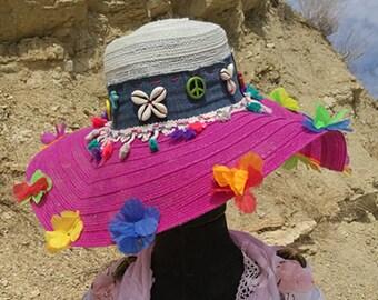 Boho hat. Summer hat restyled hat embellished hat Ibiza  1296e9bac539