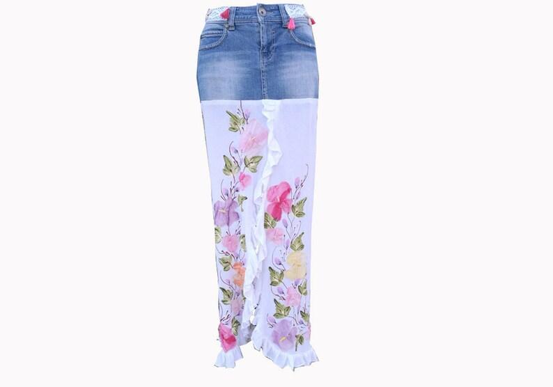 421b2fdeaf4699 Boho Jeans skirt met omslagdoek. Boho skirt Custom made